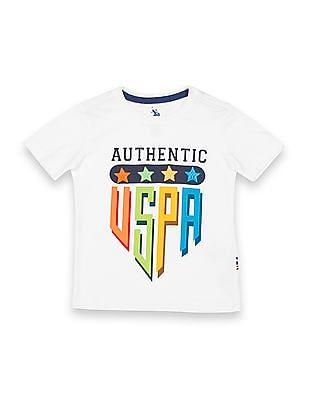 U.S. Polo Assn. Kids Boys Printed Front Regular Fit T-Shirt