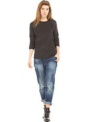 EdHardy Women Patterned Knit Studded Sweater