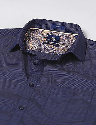 True Blue Slim Fit Striped Shirt