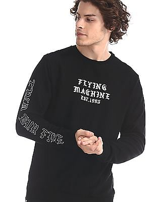 Flying Machine Black Crew Neck Brand Print Sweatshirt