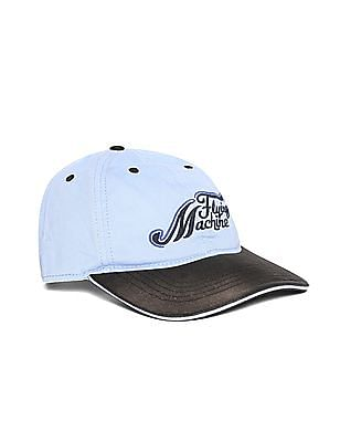 Flying Machine Blue And Black Colour Block Twill Cap