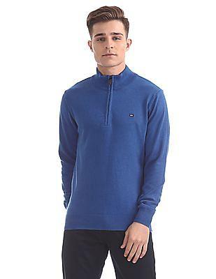 Arrow Sports Zipper Placket Solid Sweater