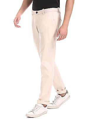 Ruggers Beige Tapered Fit Cotton Stretch Trousers