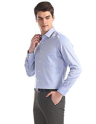 Arrow Blue Regular Fit French Placket Shirt