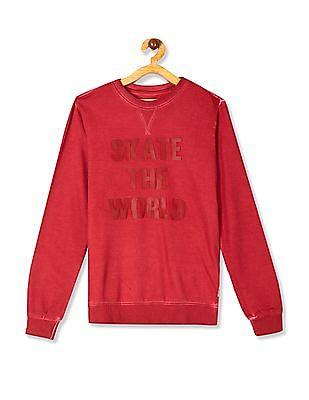 FM Boys Red Boys Crew Neck Rubber Print Sweatshirt