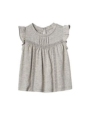 GAP Baby Lace Trim Flutter Top