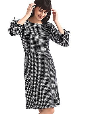U.S. Polo Assn. Women Blue Patterned Knit Fit And Flare Dress