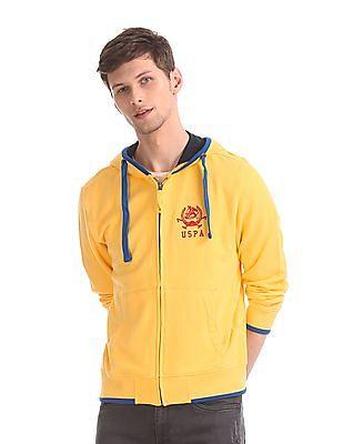 U.S. Polo Assn. Yellow Drawstring Hoodie Tipped Sweatshirt