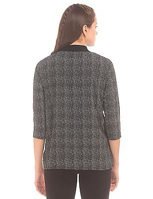 Cherokee Stand Neck Patterned Top