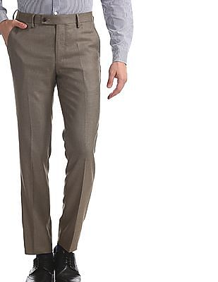 Arrow Brown Slim Fit Patterned Trousers