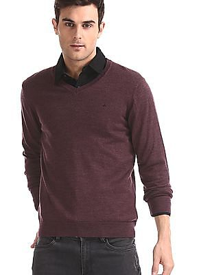 Arrow Purple V-Neck Heathered Sweater