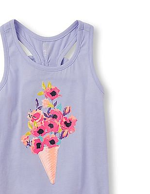 The Children's Place Girls Sleeveless Embellished Graphic Bow Racer-Back Top