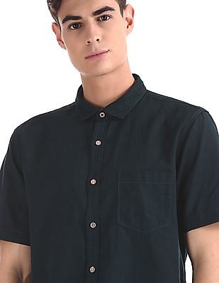 Cherokee Green Semi Cutaway Collar Cotton Linen Shirt