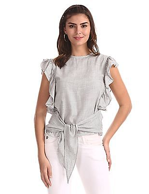 Flying Machine Women Grey Ruffled Striped Top