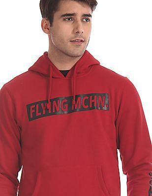 Flying Machine Red Hooded Printed Sweatshirt
