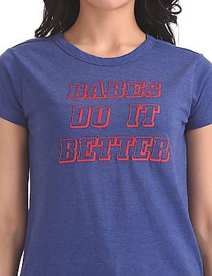 Flying Machine Women Short Sleeve Graphic T-Shirt