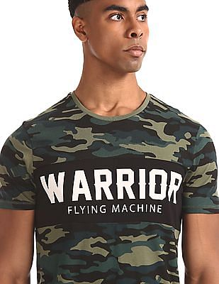 Flying Machine Green Crew Neck Camo Print T-Shirt