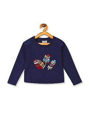 Cherokee Girls Round Neck Embellished Sweatshirt