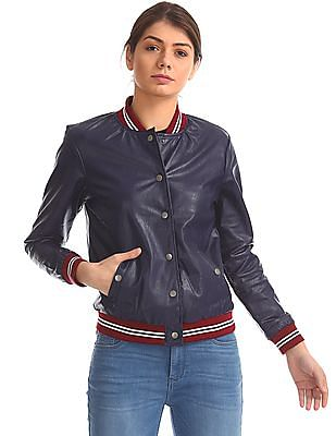 Flying Machine Women Stand Neck Bomber Jacket