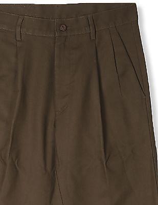 Arrow Brown Comfort Regular Fit Solid Trousers