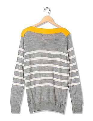 Flying Machine Women Long Sleeve Striped Sweater