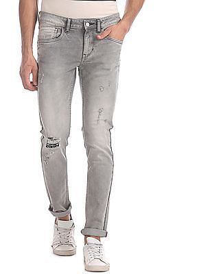 Flying Machine Grey Jackson Skinny Fit Distressed Jeans