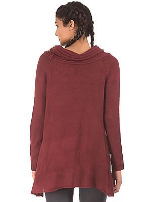 EdHardy Women Cowl Neck High Slit Sweater