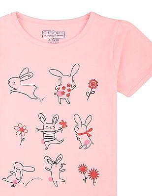Cherokee Girls Bunny Print Cotton T-Shirt
