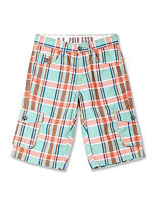 U.S. Polo Assn. Kids Boys Check Cargo Shorts