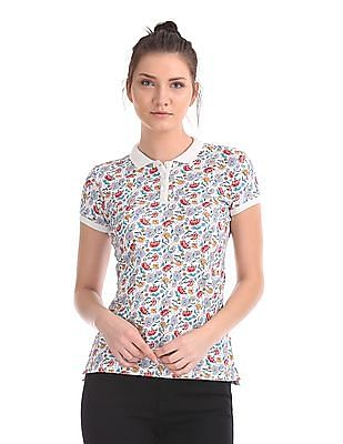 U.S. Polo Assn. Women Regular Fit Floral Print Polo Shirt