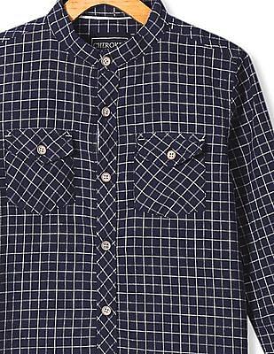 Cherokee Boys Mandarin Collar Check Shirt