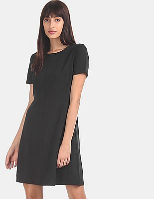 GAP Women Black Princess Panel Flared Ponte Dress