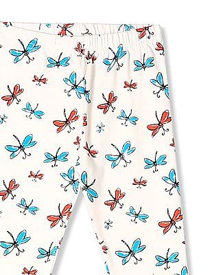 Cherokee White Girls Butterfly Print Cotton Stretch Leggings