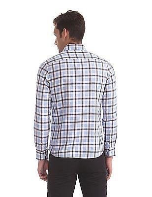 Arrow Sports Blue Button Down Collar Check Shirt