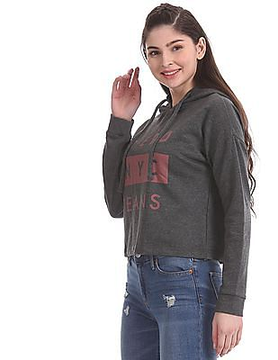 Aeropostale Grey Brand Print Drop Shoulder Sweatshirt