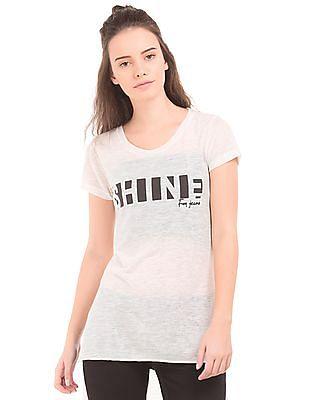 Flying Machine Women High Low Hem Longline T-Shirt