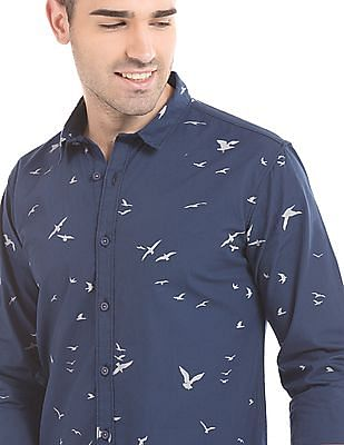 Colt Bird Print Slim Fit Shirt