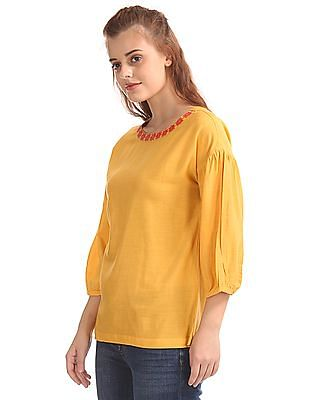 Bronz Embroidered Neck Woven Top
