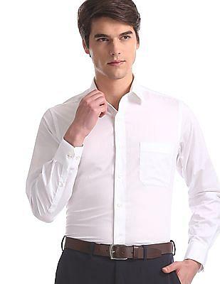 Arrow White Regular Fit Jacquard Shirt