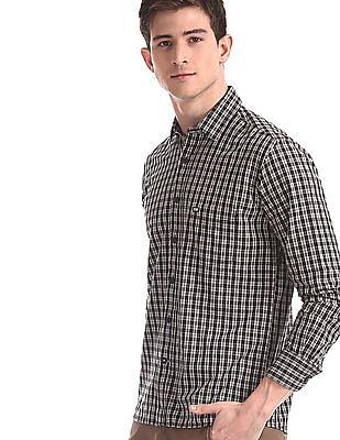 Arrow Sports Black Regular Fit Check Shirt