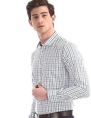 Excalibur White And Blue Mitered Cuff Check Shirt