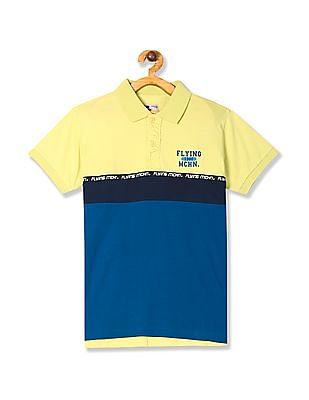 FM Boys Green Boys Panelled Short Sleeve Polo Shirt