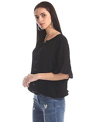 SUGR Black Elasticized Hem Bell Sleeve Top