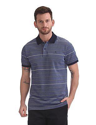Gant Oxford Stripe Short Sleeve Rugger Polo Shirt