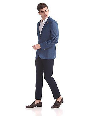 Arrow Sports Zero Calorie Slim Fit Patterned Weave Blazer