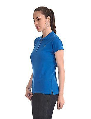 Flying Machine Women Short Sleeve Polo Shirt