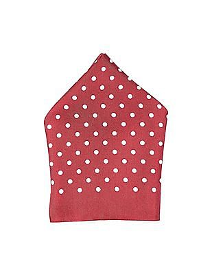 Arrow Red Polka Dot Print Woven Pocket Square