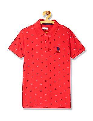 U.S. Polo Assn. Kids Boys Regular Fit Printed Polo Shirt