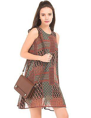 Elle Patchwork Print Swing Dress