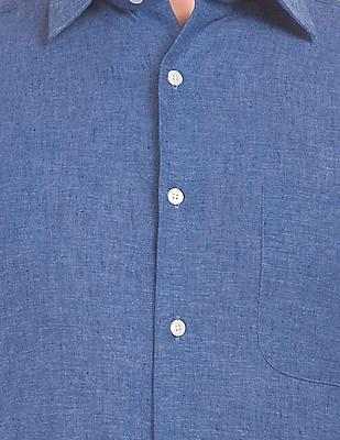 Arrow Short Sleeve Cotton Linen Shirt